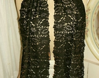 Antique  Silk Lace Stole, Scarf