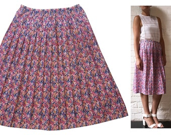 Cute Mixed Floral Pleated Mid-length Skirt