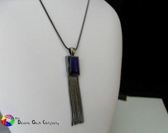 Art Nouveau Blue Pendant with Chain