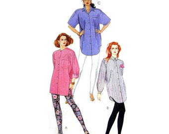 90's McCall's 6239 Palmer Pletsch The 3-Hour Tunic: Oversized Shirt with Sleeve and Collar Variations UC, FF, Sewing Pattern Size 14-16