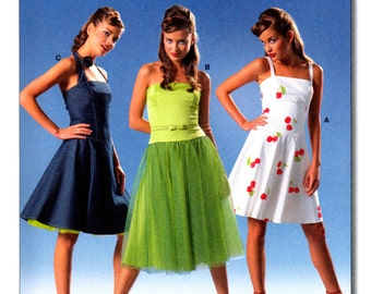 2005 Burda 8174 Close Fitting Halter Neck, Strapless or Spaghetti Strap Party Dress, Uncut, Factory Folded Sewing Pattern Multi Size 8-18
