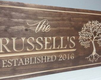 Wedding established sign, carved name sign, wood name sign, anniversary gift, wedding gift, family name sign, Established sign