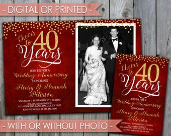 40th Wedding Anniversary Invitation, Wedding Anniversary Invite, 30th, 40th, 50th, 60th, 70th, 80th, Ruby, Red, Digital File #356