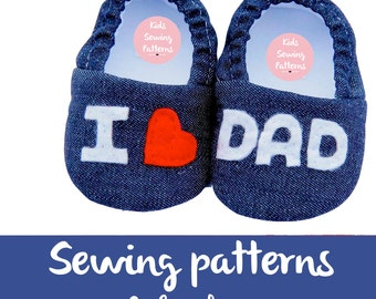 Baby shoe pattern / pdf sewing patterns for children / Newborn mocs sewing pattern /  little boy shoes / Fabric baby shoe / LOVE BABY SHOE