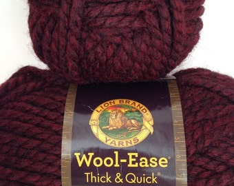 Lion Brand Wool Ease Thick & Quick Yarn, Color- Claret #143, Fiber-acrylic and wool, Weight-super bulky 6