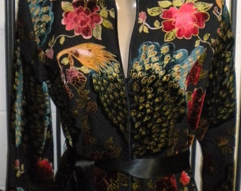 Bird of Paradise Elegant one of a kind floral raised velvet silk blend Black lined jacket top Size 8 J S Collections EUC Free Shipping!