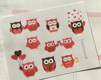 Valentine's Day Owls Planner Stickers