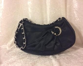Vintage black evening bag with rhinestone embellishment