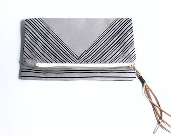 Triangle Foldover Clutch - Grey