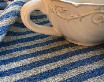 Set of Three Heavy Linen tea towels, dish towels, kitchen towels, blue striped linen towels, dish towels with blue stripes by Linenbee