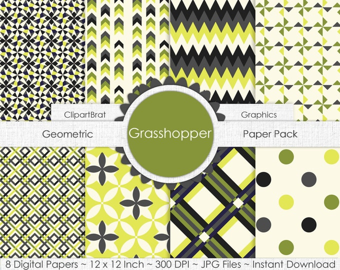 Grasshopper CITRON GREEN & GRAY Digital Paper Pack Commercial Use Digital Background Paper Geometric Dot Plaid Chevron Arrows Digital Paper
