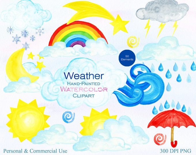 WATERCOLOR WEATHER Clipart for Commercial Use Watercolor Cloud Rainbow Rain Umbrella Wind Snowflake Moon Sun Star Weather Planner Clip art