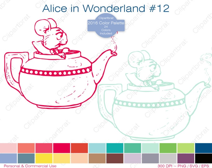 ALICE IN WONDERLAND Clipart Commercial Use Clipart Mouse Teapot Graphic 2016 24 Color Palette Tea Party Digital Sticker Vector Png Eps Svg