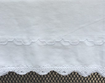 Vintage pillowcase white on white crochet lace 18x31