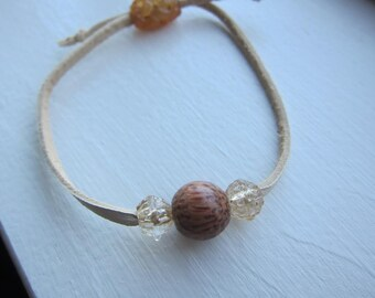 Leather Wooden Bead Bracelet