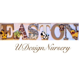 Safari Themed Wooden Wall Letters - Nursery Decor - Jungle Nursery - Baby Shower Decor - Safari Theme - Custom Nursery Letters - Wooden Sign