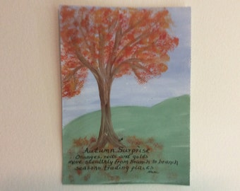 Acrylic Painting, Haiku, Autumn, Seasons