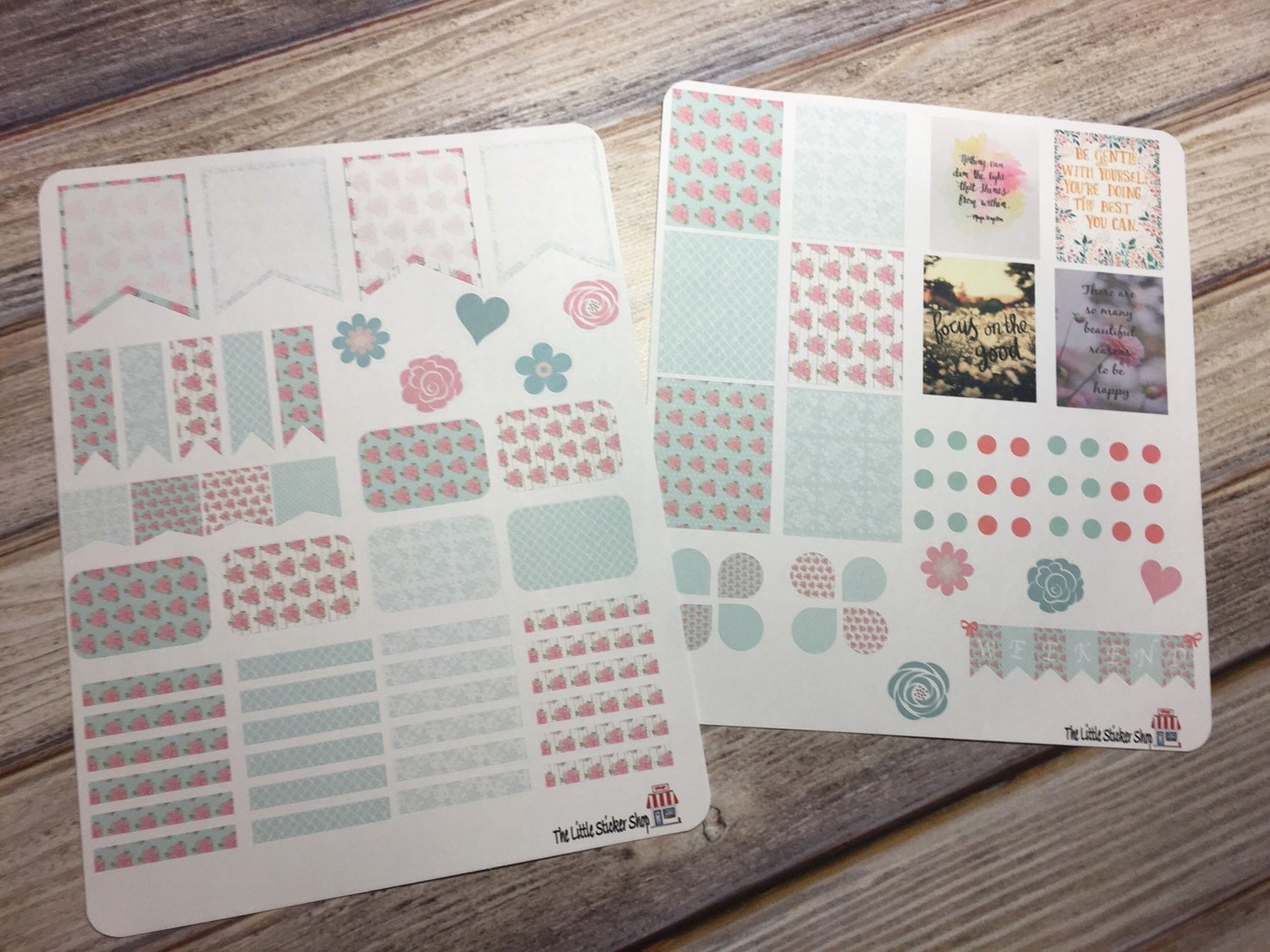 Shabby chic full weekly set. Perfect for the Erin Condren Life