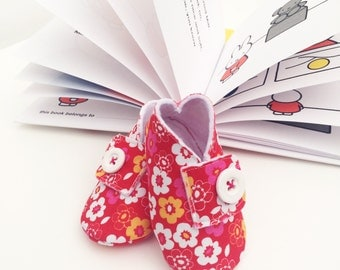 Handmade Baby Shoes - Red Floral Print