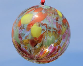 Summer Sunrise Handblown Glass Friendship Ball 10cm