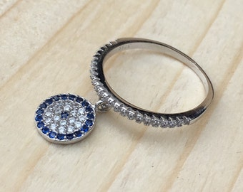 Lucky Evil Eye Charm Rings 925 / Sterling Silver