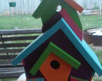 Crooked house handpainted, bird house