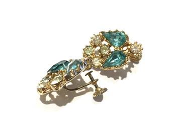 Vintage rhinestone screw back earrings turquoise mother of the bride