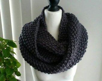 Grey infinity scarf, snood, cowl. Soft, warm, chunky, acrylic. Loop scarf.  Hand knitted - Ready to Ship!