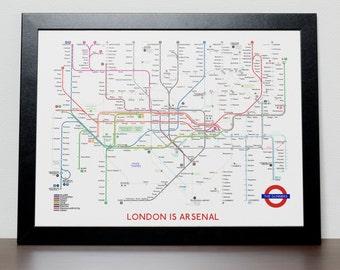 Arsenal FC Subway Tube Map Poster