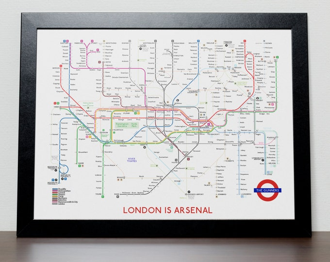 Featured listing image: Arsenal FC Subway Tube Map Poster