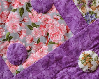 Quilt for sale,  patchwork, baby, toddler, child, girl, lap quilt, throw, hand quiltiing, hand applique , purple, violet, pink, flowers,