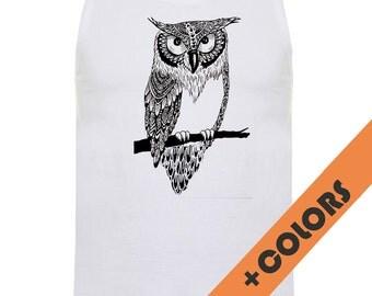 Man braces t-shirt/ black/white/red/grey owl illustration