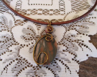 Leather Necklace Canyon Marble Gemstone Wire Wrapped Necklace Boho Simple