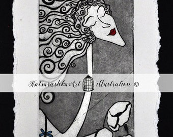 OriginalPrintmaking Etching Coloured Ecoline GoldGilding Woman White Bird Cage Key Letter Music Love Grace Coloured
