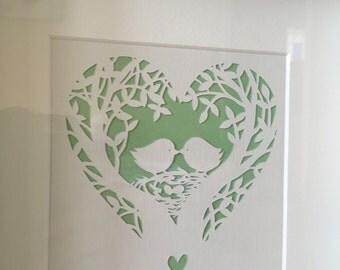 Wedding love birds Papercut Framed