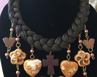 SALE!!! Brown bib statement necklace