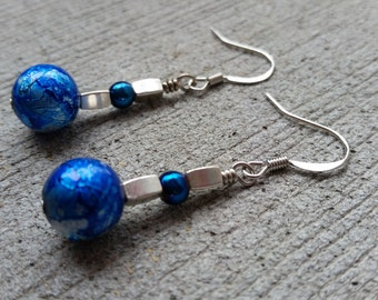 Electric Blue and Silver Dangle Earrings