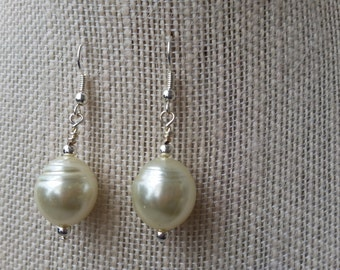 Ivory and Silver Pearl Earrings