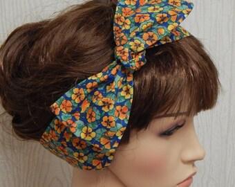 Self tie headband, retro hair scarf, rockabilly hair band, cotton tie up bandana, 50's head wrap
