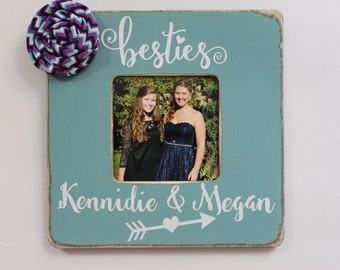 Best Friends Picture Frame, Besties Frame, Rustic Picture Frame, Turquoise Photo Frame