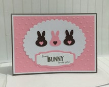 Easter card Some bunny loves you . Perfect Easter card for someone special this Easter. For him or her cute bunny .