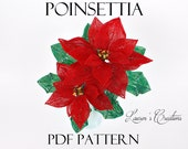 PDF Pattern - French Beaded Poinsettia by Lauren Harpster, Lauren's Creations digital download patterns, seed bead wire wrapping tutorial