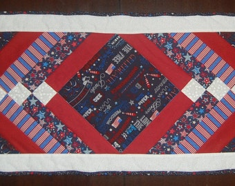 Patriotic July 4th Table Runner Red, White, and Blue