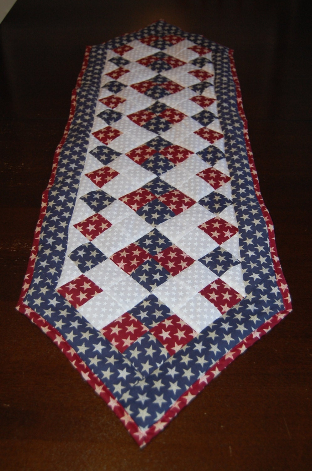red white and blue star table runner. Black Bedroom Furniture Sets. Home Design Ideas