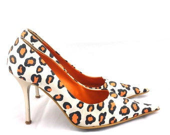 CHEETAH PRINT Vintage High Heel Shoes  Handmade Pumps Lavorazione Artigiana