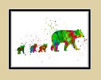 Bear family, Mother and baby bears,Bears, bear,watercolor print, watercolor,animal,watercolor,kids room decor,watercolor print(1467b)