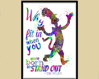 Dr Seuss inspired, Cat in the hat, Dr Seuss Quote, watercolor print, Nursery, Kids Room Decor (1510b)