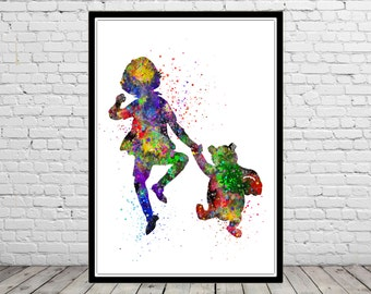 Christopher Robin inspired, Winnie the Pooh, watercolor Winnie the Pooh, Christopher Robin, watercolor print, Kids Room Decor, Poster (643b)