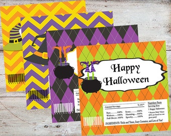 Halloween Candy Wrappers, Halloween Witch Candy Bar Wrappers, Halloween Editable Candy Bar Wrappers, Halloween Favors, INSTANT DOWNLOAD