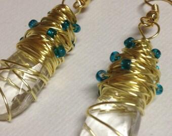Gold Wire Wrapped Teardrop Crystal Earrings